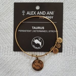 Alex and Ani Gold Tone Taurus Bangle with Card